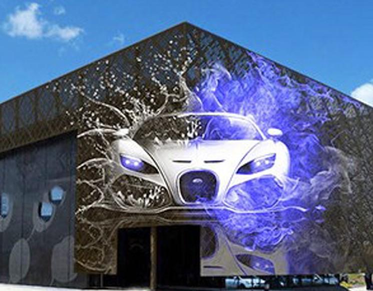 Медиафасад реечный DIP для дизайнерского проекта фасада здания